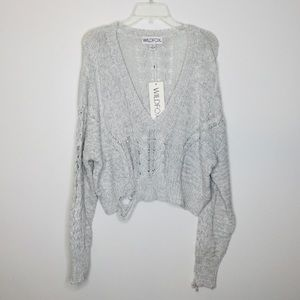 Wildfox Distressed V-Neck Gray Sweater NWT